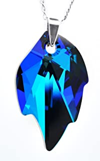ROYAL CRYSTALS Sterling Silver Luxe Blue Maple Leaf Pendant Necklace Made with Swarovski Crystal Elements,18