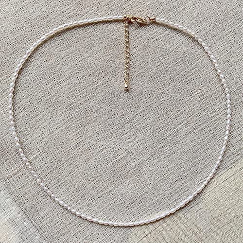 SONGK Mini Collana di Perle barocche da 2-3 mm Collana con Perle Piccole da Sposa Elegante Collana Girocollo di Perle d'Acqua Dolce Naturale per Le Donne