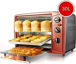 Horno eléctrico multifunción para el hogar, horno rojo independiente manual, temporizador de 60 minutos, 30 litros de gran capacidad, calentamiento independiente de los tubos superior e inferior, múl