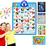 SIHOHAN Talking ABC Alphabet Poster Wall,Interactive Educational Learning Toys for 234567 Year Old,ABC +Music+123s+Words Learning ABC Poster for Toddlers to Jump Start Your Child Fun Reading(1+4)
