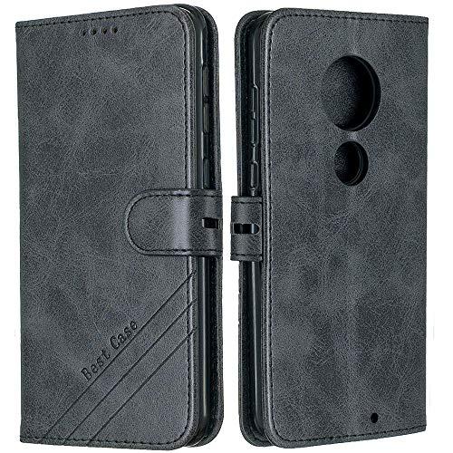 EMAXELERR Motorola Moto Z4 Play Hülle Retro Luxus Premium PU Leder Stoßfest Wallet Flip Magnet Schutzhülle mit Kreditkartenfach für Motorola Moto Z4 Play Schwarz HX