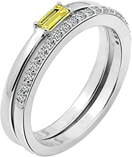 Swarovski Zirconia Ring Set of Yellow Minimalist Baguette Solitaire Ring and Half Eternity Band Ring