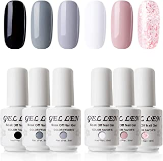 Gellen Gel Nail Polish 6 Colors Set - Simple and Classic Series, Elegant Nail Art Colors Black White Grays Glitter Pink Manicure Kit