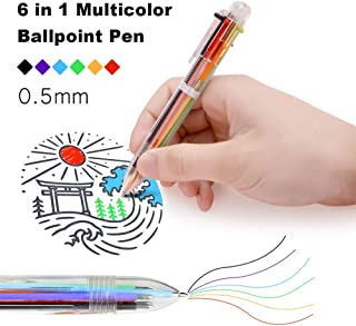 LITPRIN 23 Pack Multicolor Pen In One,0.5mm 6-in-1 Multicolor Ballpoint pen,Click Pen,6-Color Retractable Ballpoint Pens Office School Supplies,Students`Cool Pens Smooth Writing Tools Gift