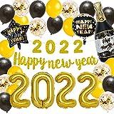 Forniture per feste di Capodanno 2021 Decorazioni per feste Quarantena Banner di felice anno nuovo 2021 Palloncini Stella Palloncino con stagnola di champagne