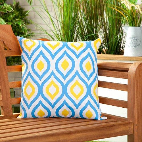 Gardenista Coussin d'Extérieur Étanche Résistant Rembourré | Design à Motifs colorés | Oreillers décoratifs de 45 cm (Geometric Blue/Yellow)