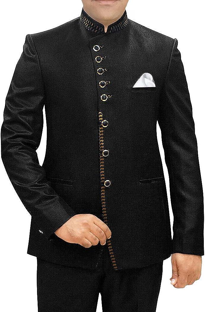INMONARCH Mens Black Polyester 3 Pc Jodhpuri Suit Angrakha Style JO489