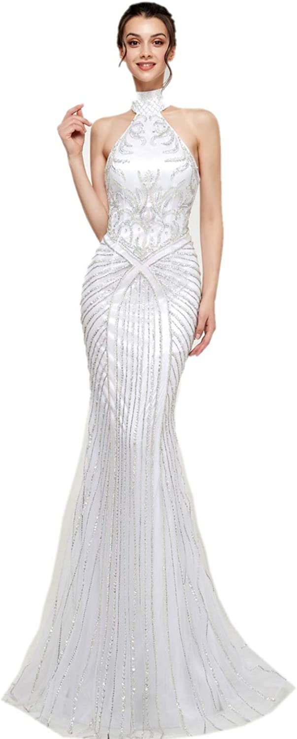 Darcy74Dulles Women's Mermaid White Beads Long Evening Gown Dresses for Ladies Formal Dress Women Elegant