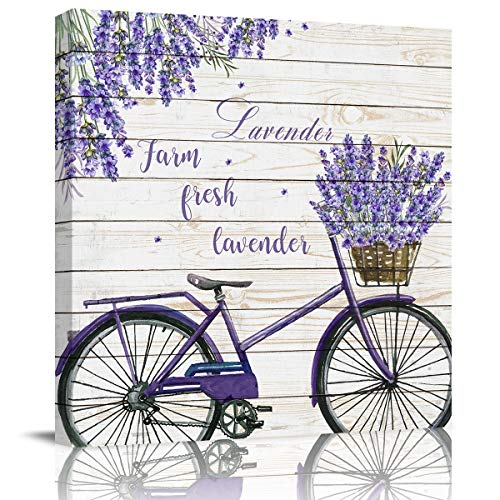 SUN-Shine Farmhouse Lavender on The Purple Bicycle Canvas Wall Art Oil Painting Prints Stretched and Framed Retro Wooden Board Wall Artworks Picture for Living Room Kitchen Bedroom Decor, 16x16In