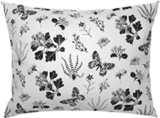Roostery Pillow Sham, Greyscale Butterflies Plants Black and White Vintage Nature Butterflie Botanical Drawing Print, 100% Cotton Sateen 26in x 26in Knife-Edge Sham