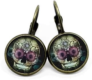 Totenkopf Mexiko *Neu* Ohrhaken vergoldet Ohrringe Los Muertos Halloween