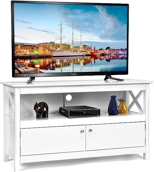 Tangkula 木质电视架现代多用途家居家具收纳控制台娱乐媒体中心白色