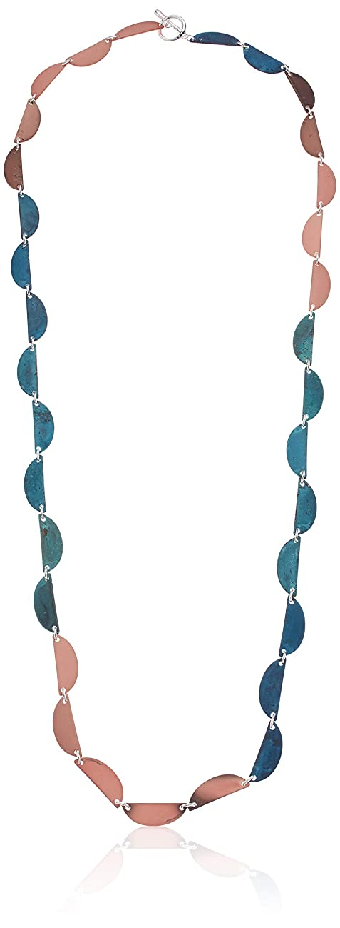 Robert Lee Morris Soho Womens Mixed Ombre Geometric Half Moon Long Toggle Necklace, PATINA MULTI, One Size
