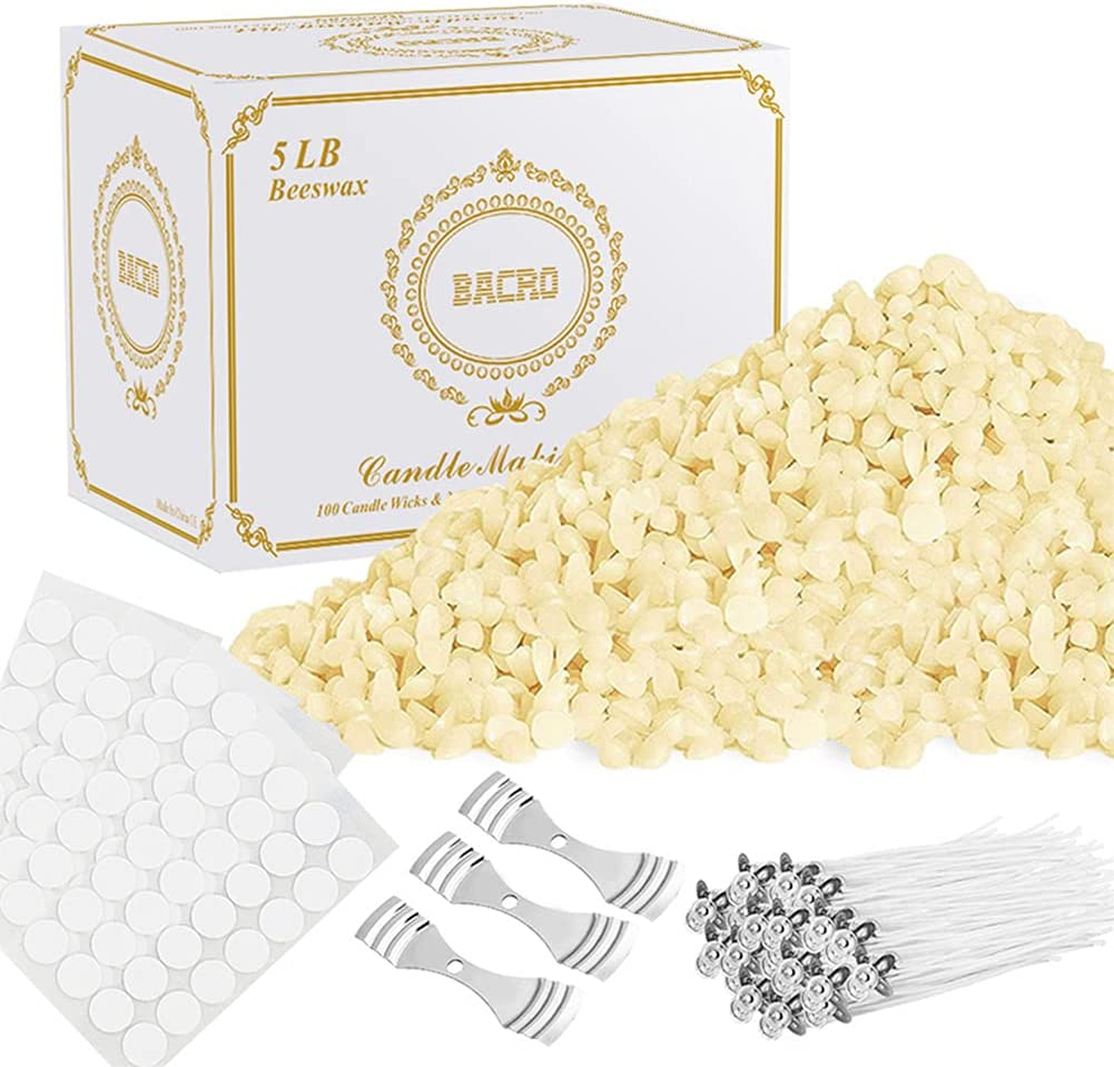 BACRO Natural Beeswax for Branded goods DIY Candle Supplies - lb. New York Mall 5 Making Kit