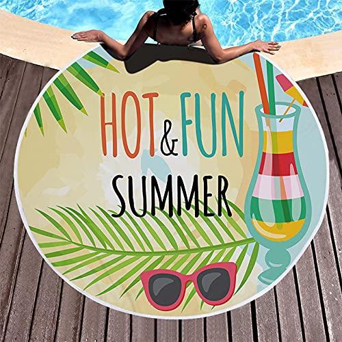 Toalla para La Playa Redonda, Gran Manta De Tiro De Playa De Microfibra Gruesa con Borlas Hot Summer Pattern Sunblock For Girl Swim Sport On Beach Yoga Mat Towel Picnic Mat,150 * 150Cm