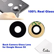 EMiEN Genuine Back Rear Camera 100% True Glass Lens Cover + Adhesive Fix Replacement Parts For LG Google Nexus 5X H791 H791 H795