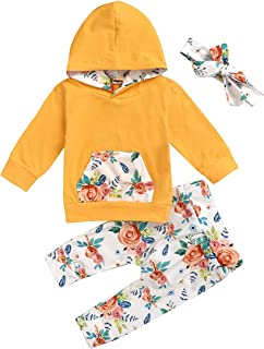 FUTERLY Baby Girl Clothes Long Sleeve Floral Hoodie Sweatshirt Pants with Pocket Headband Infant Outfit Sets(18-24 Month,100)