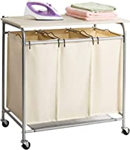 Marble Field 3-Bag Heavy-Duty Rolling Laundry Cart with Ironing Board Laundry Room Organizer with Wheels Beige
