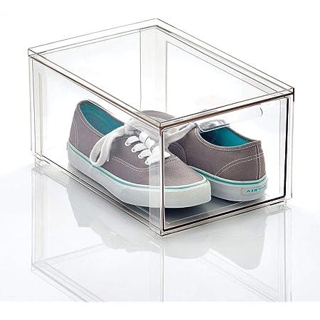 mDesign boite de rangement avec tiroir – boite de rangement plastique solide pour le stockage de chaussures – bac de rangement empilable pour chaussures, accessoires et plus – transparent