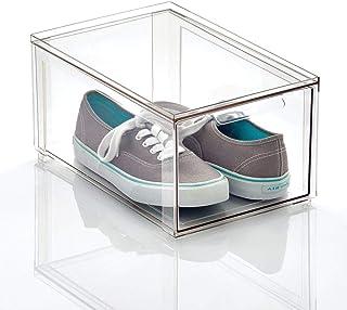 mDesign boite de rangement avec tiroir – boite de rangement plastique solide pour le stockage de chaussures – bac de range...