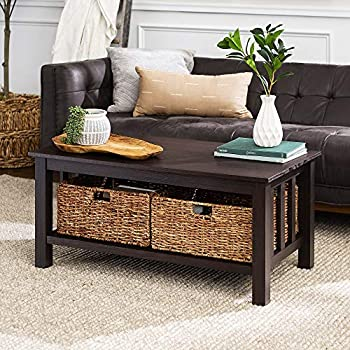 Walker Edison Furniture Company Rustic Wood Rectangle Coffee Table