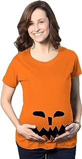 Maternity Spikey Teeth Pumpkin Face Halloween Pregnancy Announcement T Shirt