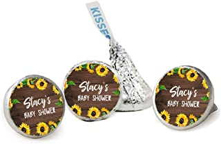Faux Wood & Sunflowers Personalized Baby Shower Kisses Candy Stickers, Party Favor Stickers, Candy Labels, 324 Total Labels