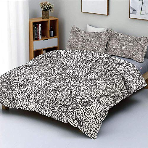 Qoqon Duvet Cover Set,Monochrome Design Ethnic Cultural Pattern Intricate Mehendi Swirls Asian Leaves DecorativeDecorative 3 Piece Bedding Set with 2 Pillow Sham,Black White,Best Gif