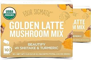 Four Sigmatic Mushroom Latte Mix, Dairy-free, USDA Organic with Coconut Milk Powder, 2 Pack (Golden Latte with Shiitake Mushroom & Turmeric)