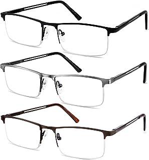 JJWELL 3 Pack Blue Light blocking Reading Glasses for Men Anti Computer Glare Eyestrain Spring Hinge Readers with Pouches