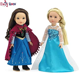 Emily Rose 14 Inch Doll Clothes | Princess Elsa and Anna Frozen Inspired Outfit Set | Fits 14