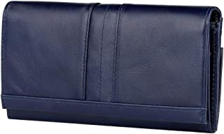 Women's RFID Blocking Large Capacity Genuine Leather Clutch Wallet Card Holder Organizer Ladies Long Purse (Blue)