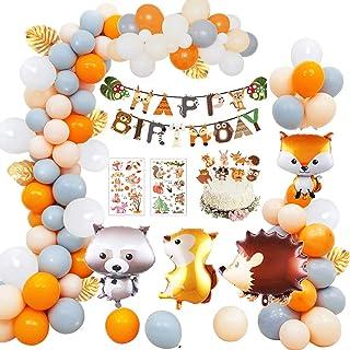 MMTX Animaux Anniversaire Décoration Enfant, Woodland Joyeux Anniversaire Bannière 40 Ballon en Latex avec Feuille Animal ...