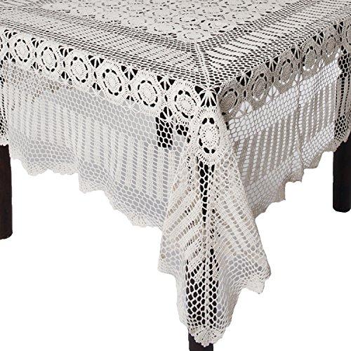SARO LIFESTYLE 869Ganchillo manteles, 72por 144-inch, Rectangular, Color Blanco