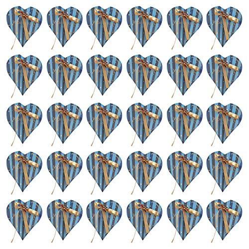 Toasses 30pcs Heart  Bolsas de Regalo con Forma de Caramelo en Forma para Bodas Ducha de Baby Shower Decoración de la Fiesta de cumpleaños (Caja Azul con Cinta de Oro)