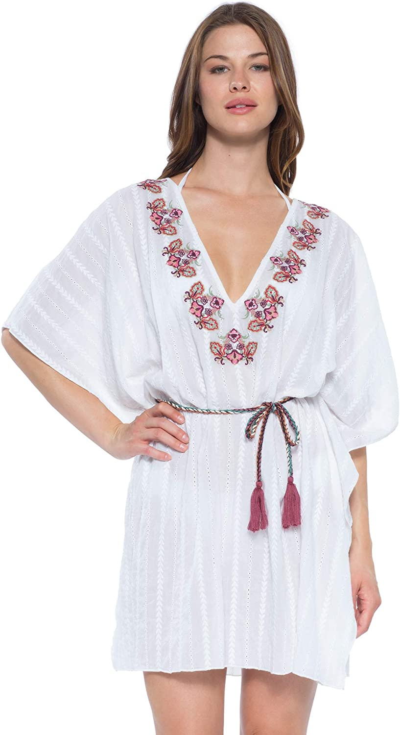 Becca by Rebecca Virtue Women's Embroidered VNeck Tunic Swim Cover Up