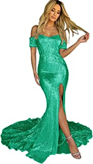 Jonlyc Women's Shiny Off-Shoulder Mermaid Long Prom Evening Dress with Slit