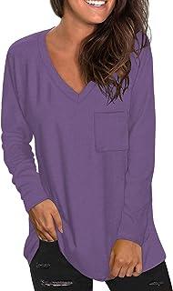 Women's Short Sleeve V-Neck Shirts Loose Casual Tee...