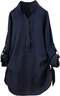 0ab587970a2a09 Womens Tops and Blouses Autumn New Solid Button Ladies Top Vintage Long  Sleeve