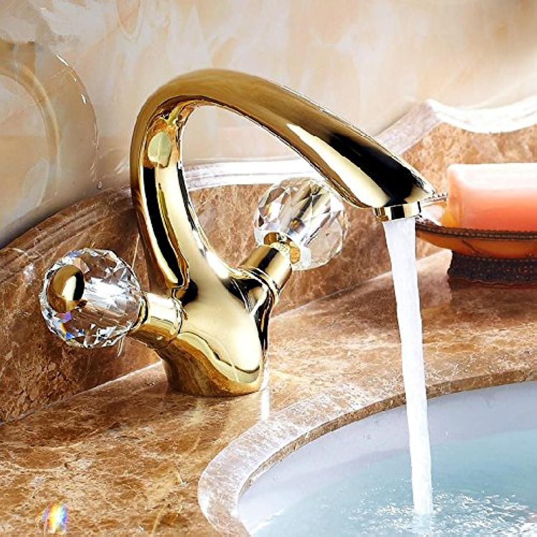 Ddlli Bathroom Sink Faucet Kitchen Faucet Tap Bath Faucet Free Shipping golden Brass Crystal Handle Bathroom Sink Faucet Tap Hot & Cold Basin Sink Mixer Tap Hj-6651K Brass gold