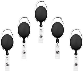 Fushing 5PCS Retractable Badge Holder Carabiner Reel Clip On ID Card Holders (Black)