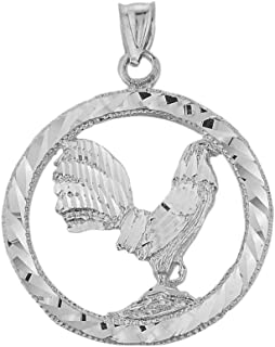 Animal Kingdom High Polish 925 Sterling Silver Rooster Charm Pendant