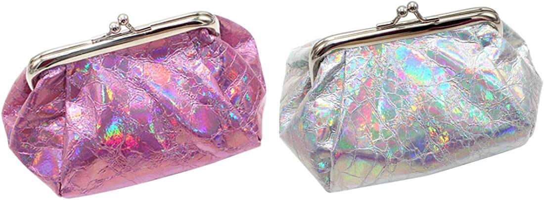 iSuperb 2 Pcs Laser Coin Purse NEW before selling ☆ Pouch Wallet Closure Clasp Columbus Mall Change