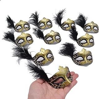 Small Masquerade Masks Party Decoration - Yiseng 12pcs Luxury Pearl Feather Mini Masks Mardi Gras Novelty Gifts