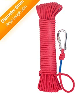 Wukong Rock Climbing Rope & Carabiner,8mm x 65 Feet High Strength Cord Safety Rope Max Working Capacity 550LBS, All-Purpose Braided Rope for for Sports, Pet Toys, Crafts & Indoor Outdoor Use