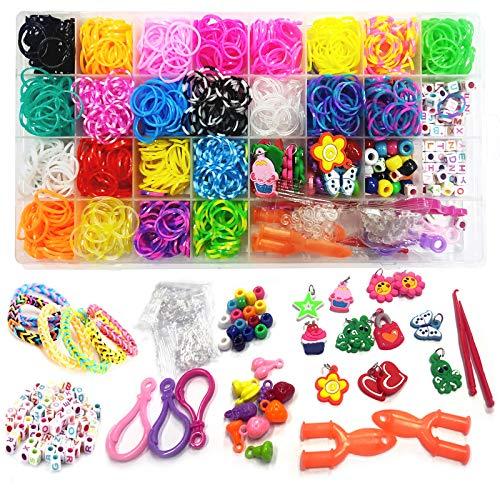 KiScooter Kit de fabricación de pulseras de goma, bandas de goma de telar de arco iris, kit de fabricación de pulseras de repuesto para niñas, telar de arco iris.