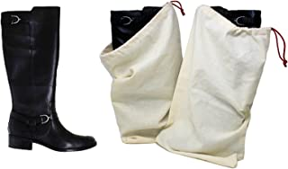 Boot Shoe Bag 100% Cotton Made in the USA with Drawstring for storing and protecting boots (Pack of 2)