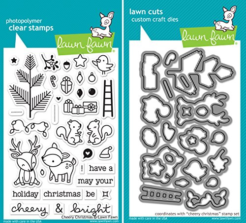 Lawn Fawn Cheery Christmas Clear Stamp and Die Set - Includes One Stamp (LF1216) and Die (LF1217) Bundle 2 Items