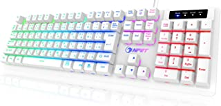 NPET White ゲーミングキーボード LED バックライト 7色 防水 usb 26キー防衝突 キーボード 角度調節可能 2年間無償品質保証 キーキャッププーラー付き ホワイト K10-WH