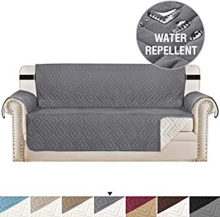 H.VERSAILTEX Reversible Sofa Slipcover Furniture Protector Anti-Slip Couch Cover Water Resistant 2 Inch Wide Elastic Straps Sofa Cover Couch Covers for Pets Kids (Sofa X-Large, Gray/Beige)